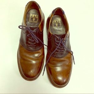 Frye Jim Saddle Oxfords shoes brown and navy